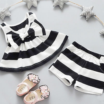 Newborn Toddler Baby Kids Girl Bowtie Tank Top Dress+Shorts Pants Outfit Clothes](Kids Dress Shorts)
