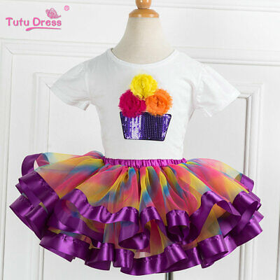 Girls Cupcake Rainbow Birthday Tutu Outfit Top + Tutu Skirt Dress Set Gift ZG9 - Cupcake Tutu Outfit