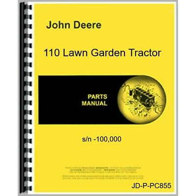 John Deere 110 110h Lawn Garden Tractor Parts Manual Catalog Pc855