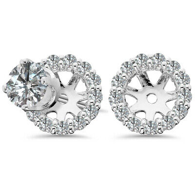 Round Earring Diamond Jackets From 0.80ct to 1.30ct 14K White Solid Gold LARGE 14k Gold Diamond Earring Jackets