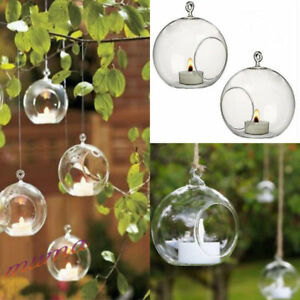 6PCS CLEAR HANGING GLASS BAUBLE SPHERE BALL CANDLE TEA LIGHT HOLDER GARDEN 10CM