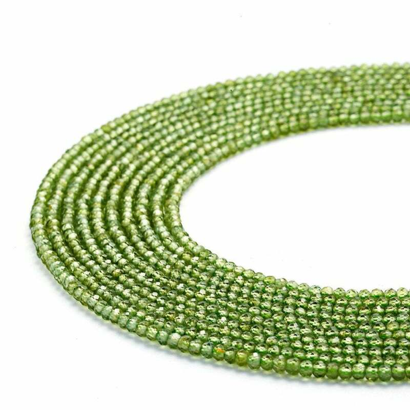"""Natural Peridot Faceted Round Beads 2mm 2.5mm 3mm 3.5mm 4mm 5mm 15.5"""" Strand"""