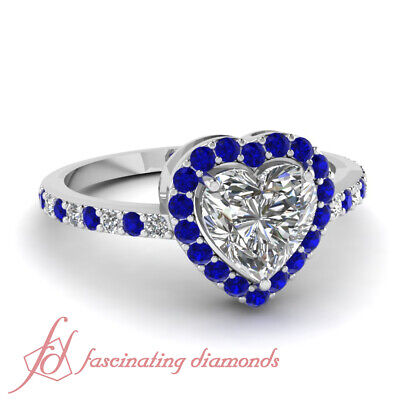 1.25 Ct Heart Shape Diamond Halo Engagement Ring With Round And Sapphire Accents