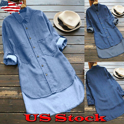 Womens Denim Pockets Button Down Shirt Long Sleeve Jeans Tops Tunic Blouse Dress Button Down Shirt Jeans