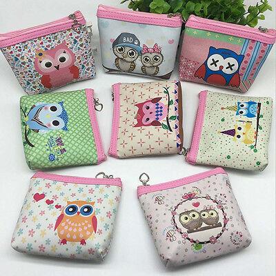 Womens Owl Wallet Card Holder Girl Coin Purse Clutch Handbag Clutch Zip Tote Bag
