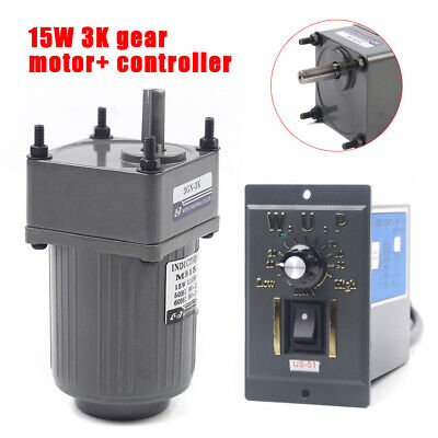 15w Ac110v Gear Motor Electric Motor Variable Speed Controller 13 450rpm New