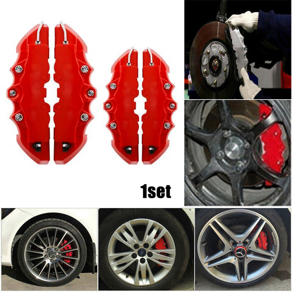Car Parts - 2 Pairs Red 3D Disc Brake Caliper Cars Parts Caliper Covers Front & Rear Kits
