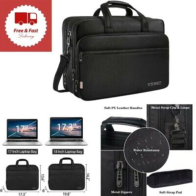 Laptop Bag Travel Briefcase Organizer Expandable Large Hybrid Shoulder Bag 17 in