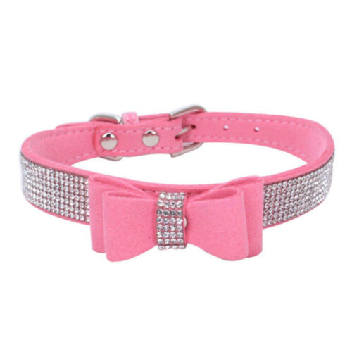 Pink Rhinestone Dog Collar Soft Suede Bow For Small Pet Doggie Puppy Cat YMZ - $5.93