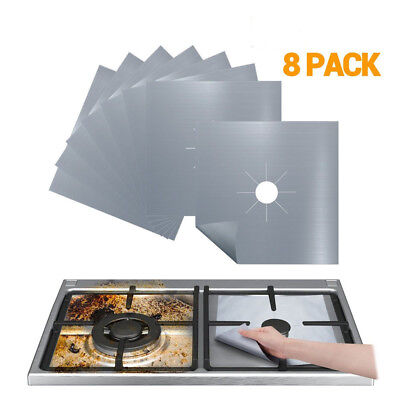 8Pcs Reusable Gas Range Stove Top Burner Protector Liner Cover For Cleaning ()