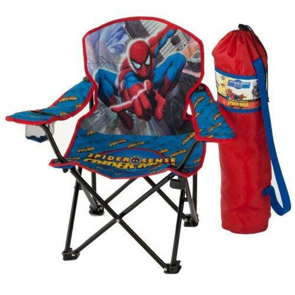 Spiderman Folding Chair Kids 4+ Armrest Cup Holder & Storage Carry Bag Blue Red Camping & Hiking