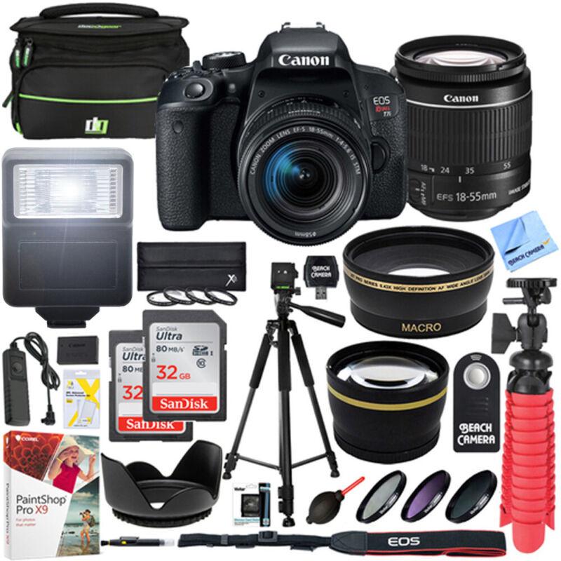 Canon T7i EOS Rebel DSLR Camera EF-S 18-55mm IS STM Lens 32GB x2 Bundle