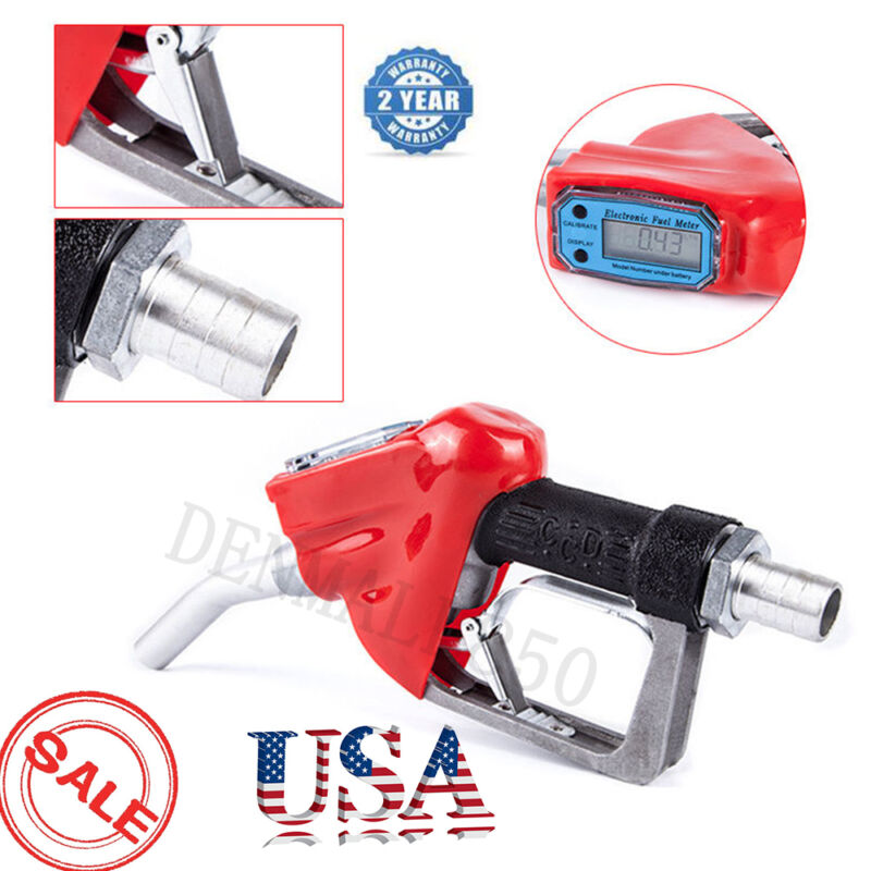 "1"" Fuel Gasoline Diesel Petrol Oil Delivery Gun Nozzle Dispenser W/ Flow Meter"