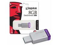 Kingston Data Traveler DT50 USB 3.0 Flash Drive Memory Sticks 8-GB