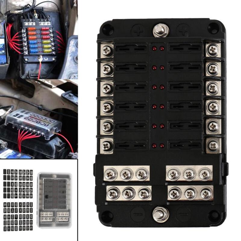 12 Way 24 Fuse Box Circuit Standard Blade Block Holder Car B