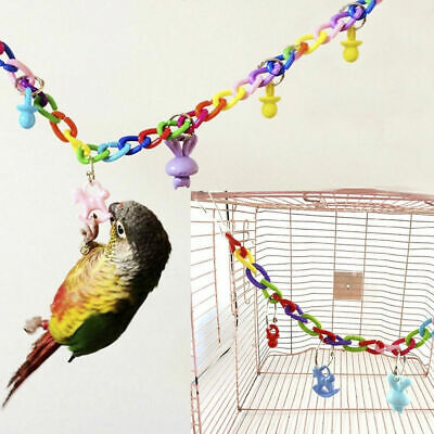 Colorful Acrylic Swing Chain in Cage Funny Birds Toy for Parakeet Parrot Budgie