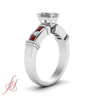 1.25 Ct Radiant Cut SI1 Diamond & Ruby Engagement Ring Channel Set 14K Gold GIA 2
