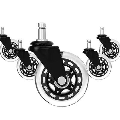 5x Office Chair Caster Soft Replacement Wheel Swivel Rubber Wood Floor Furniture