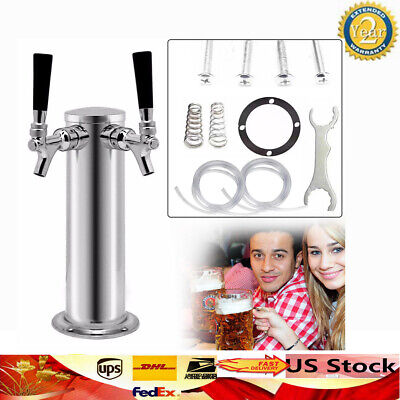 Draft Beer Towers Height 330mm 2 Tap Kegerator Homebrew Diameter 76mm Faucets