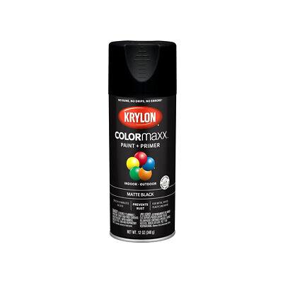 Krylon K05592007 COLORmaxx Spray Paint & Primer, Matte Black, 12 Oz