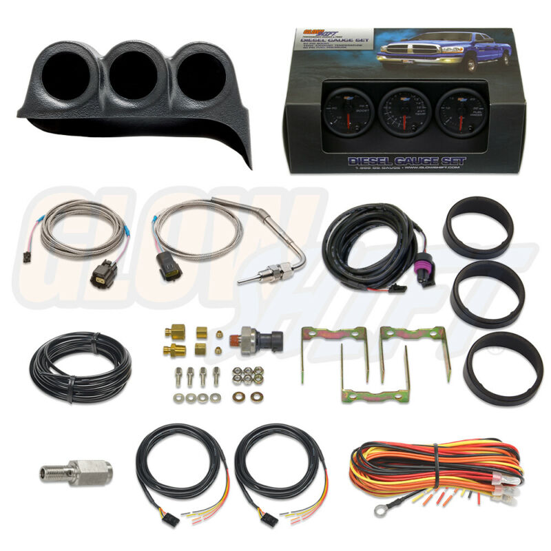 GlowShift Boost, EGT & Fuel PSI Gauges + Dash Pod for 86-93 Dodge Ram Cummins