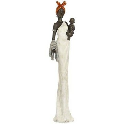 African Lady With Baby Ornament - Ethnic Statue Figurine Home Décor Accessory