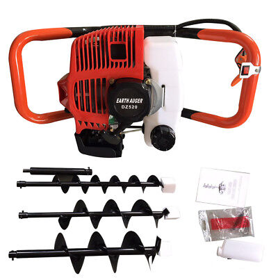 52cc Gas Powered Post Hole Digger Earth Auger Borer 3 Drill Bit Wextension Bar