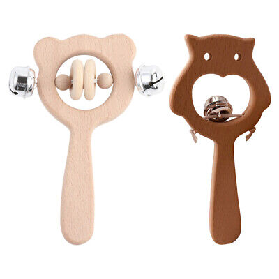 2pcs Wooden Rattle Toys Baby Teething Toys Grinding Toys Molar Toys