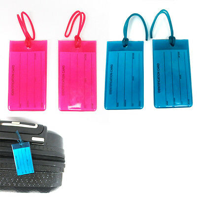 Lot 4 Jelly Luggage Tags Label Strap Name Address ID Suitcase Bag Baggage Travel