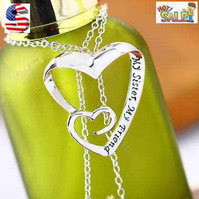 Women Fashion 925 Sterling Silver Plated Sister Heart Friends Pendant Necklace
