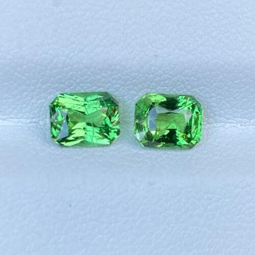 Certified Pair Natural 2.12 Cts Green Tsavorite Garnet Radiant Loose Gemstone