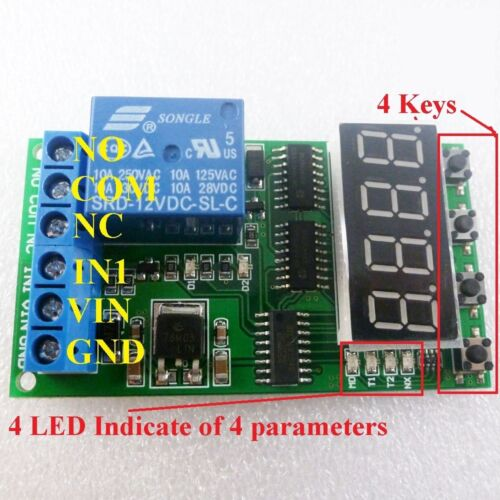DC 12V High-Trigger Multifunction Delay Relay PLC Cycle Time Timer Switch Module