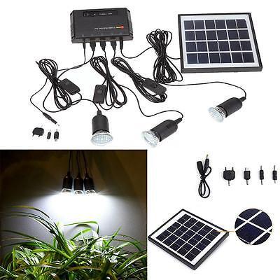 Solar Power Panel Led Light Usb Charger Home System Kit Garden Outdoor Us Stock