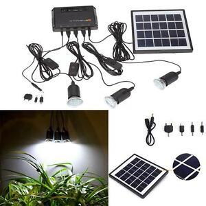 Solar Panel Led Light Usb Charger Home System Kit Garden Outdoor Us Stock