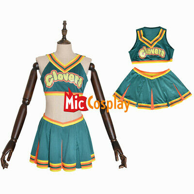 Clovers Green Cheerleader Cosplay Costume Bring It On Women Halloween Outfit](Womens Cheerleader Halloween Costume)