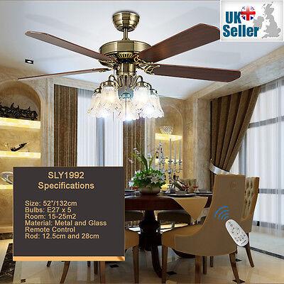 "52"" Ceiling Fan Light Bronze 5 Glass Light + 5 Wood Blade + Remote Ctrl 3 Speed"