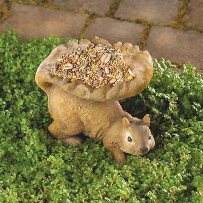 small Squirrel shape Bird Bath patio deck rail seed feeder o