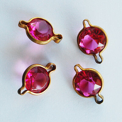Vintage Rose Pink Glass Connector Beads in Aged Brass Settings • 12mm • Channel