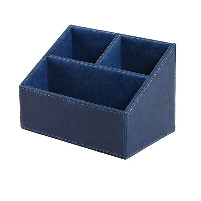 Staples Desk Organizer Faux Leather Blue 2741275