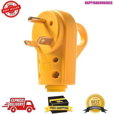 125v 30amp Heavy Duty Rv Male Plug With Ergonomic Grip Handle Yellow Heavy Duty