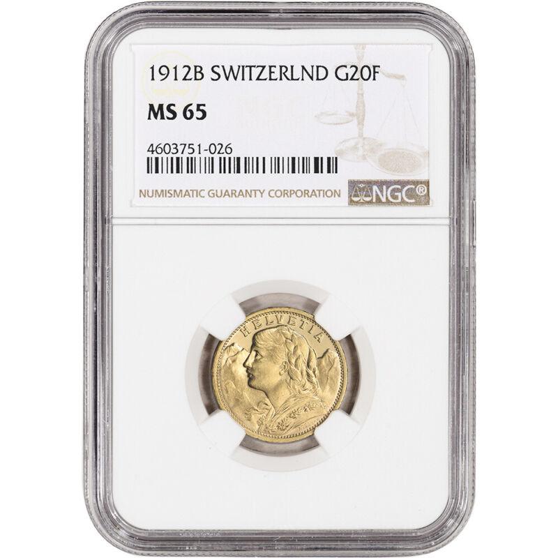 1912 B Switzerland Gold 20 Francs - NGC MS65