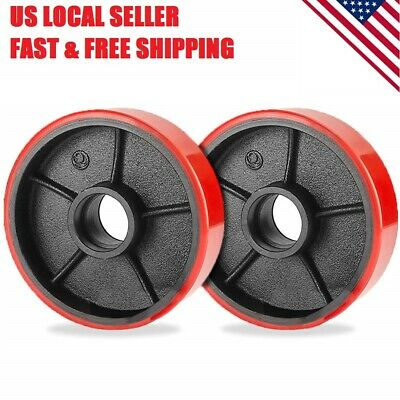 2 Pc Polyurethane Cast Iron Replacement Pallet Jack Steering Wheels No Bearings