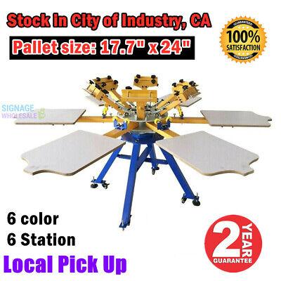 6 Color 6 Station Silk Screen Printing Machine T-shirt Printer Press Carousel