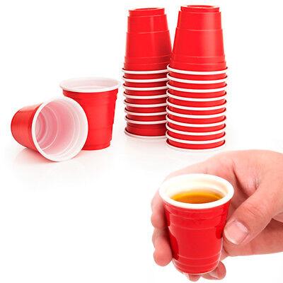 120Ct Mini Red Cups 2oz Plastic Disposable Shot Glasses Wine Bar Jello Shooter