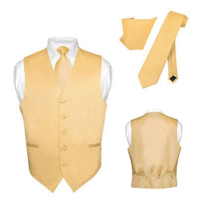 Gold Vest (Men's Dress Vest NeckTie Hanky Solid GOLD Color Neck Tie Set for Suit or)