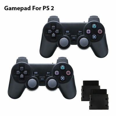2x Funk Controller für Playstation 2 PS2 Wireless Dual Vibration Gamepad Schwarz