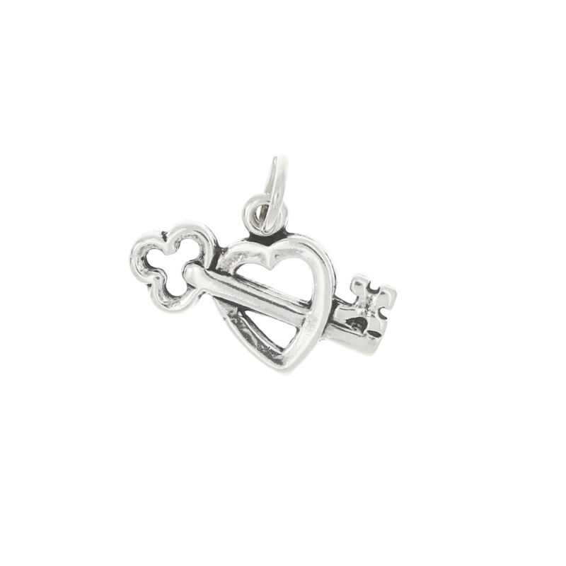STERLING SILVER OPEN HEART WITH KEY CHARM OR PENDANT