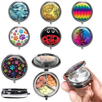 Compact Medicine Case with 3 Compartment for Tablet Pills, Pocket Purse - Compact Medicine