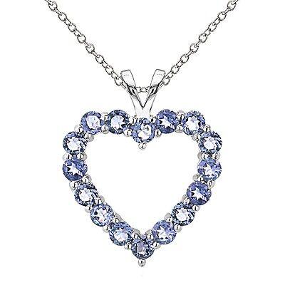 925 Sterling Silver 2ct TGW Genuine Tanzanite Open Heart Necklace