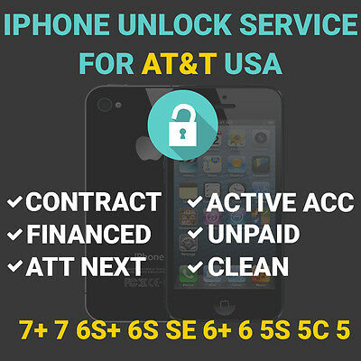 AT&T SEMI PREMIUM FACTORY UNLOCK SERVICE FOR ALL IPHONE MODELS 5S 6S+ 7 7+ NEXT